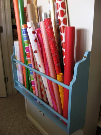 Dollar Store Bin Turned Ribbon Organizer
