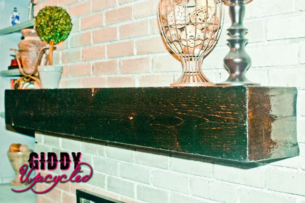 DIY Faux Barnwood Mantle by Giddy Upcycled