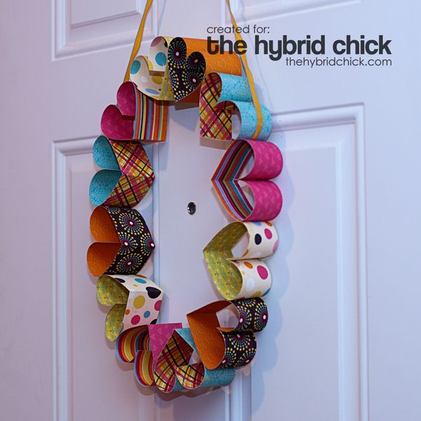Paper Heart Wreath by GiddyUpcycled
