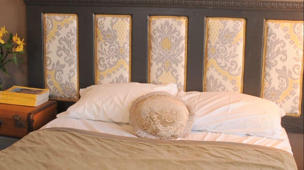 diy upholstered salvaged door headboard giddy upcycled. Black Bedroom Furniture Sets. Home Design Ideas
