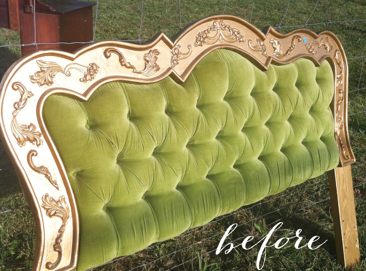 Absolutely stunning painted headboard makeover giddy for Painting a headboard