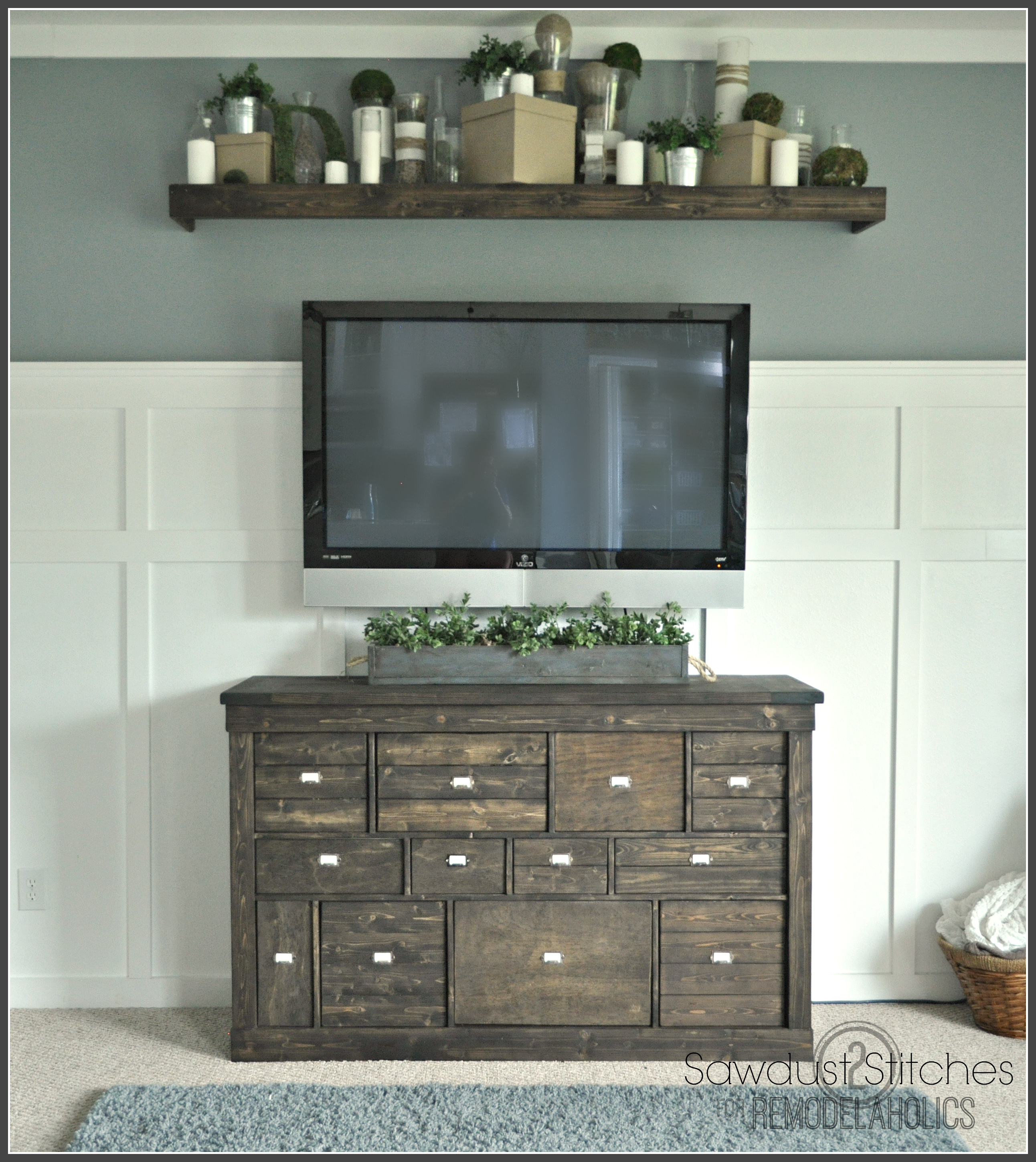 Best Gorgeous Pottery Barn Style IKEA Media Shelf Makeover - Giddy Upcycled WQ34