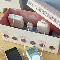 DIY Upcycled Shoe Box Charging Station