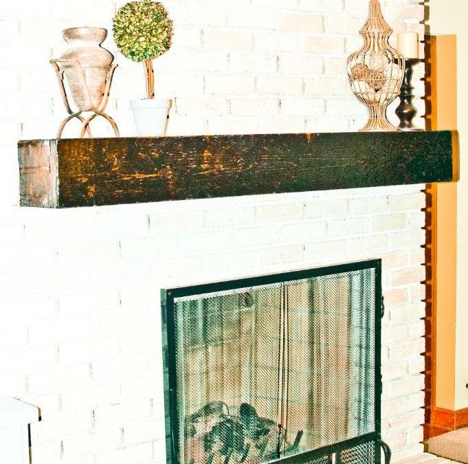 Fabulous DIY Faux Antique Barnwood Mantel