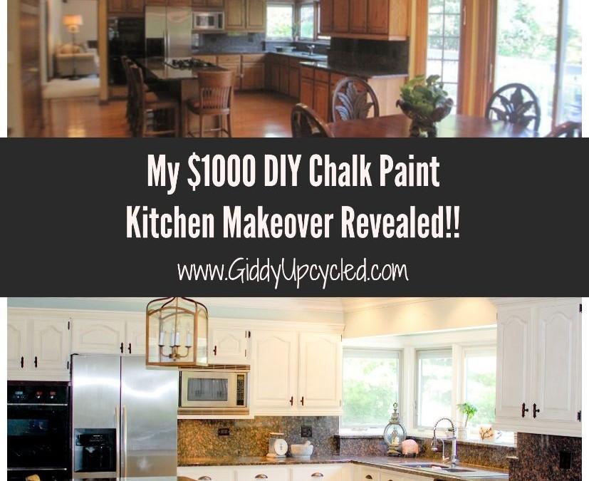 Orange Be Gone – My $1000 DIY Chalk Paint Kitchen Makeover Reveal!!