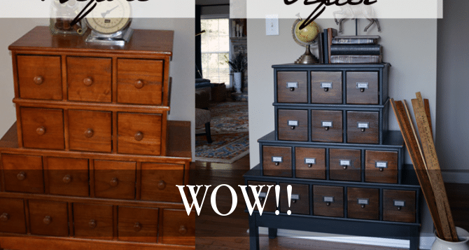 Gorgeous Vintage Inspired Apothecary Cabinet Makeover
