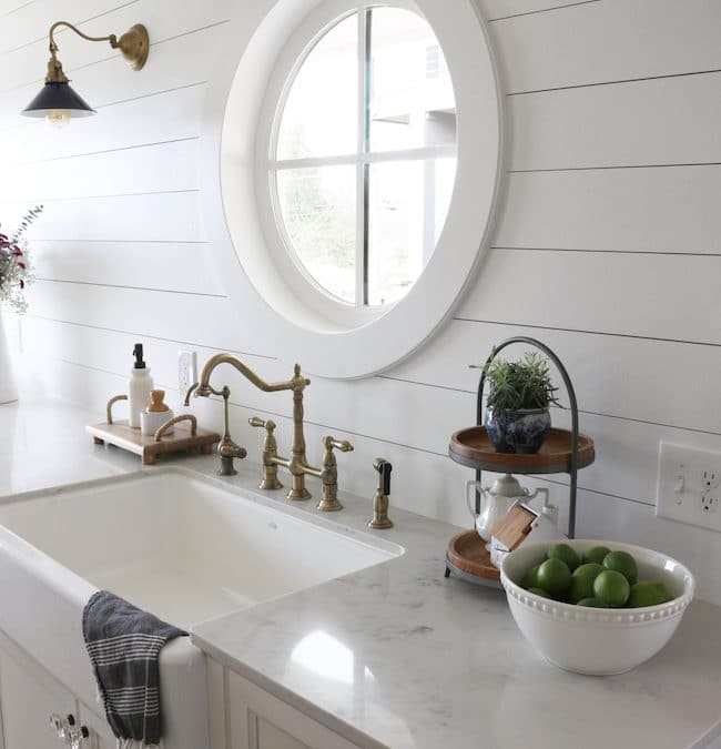 Shiplap Kitchen: Planked Walls Behind Sink & Stove