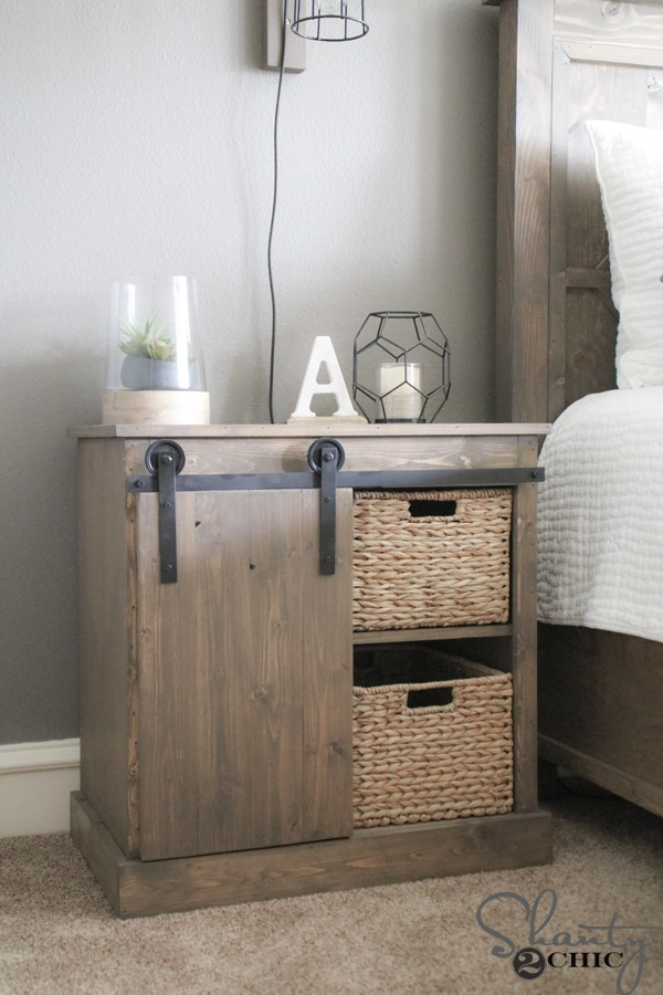 Sliding Barn Door Nightstand Diy Giddy Upcycled