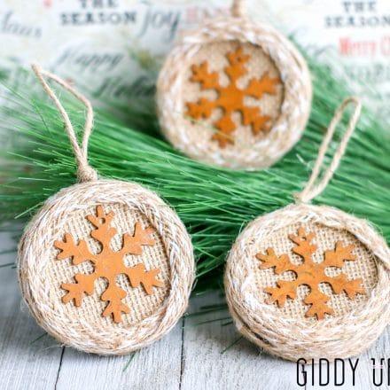 Burlap Wrapped Mason Jar Snowflake Ornaments