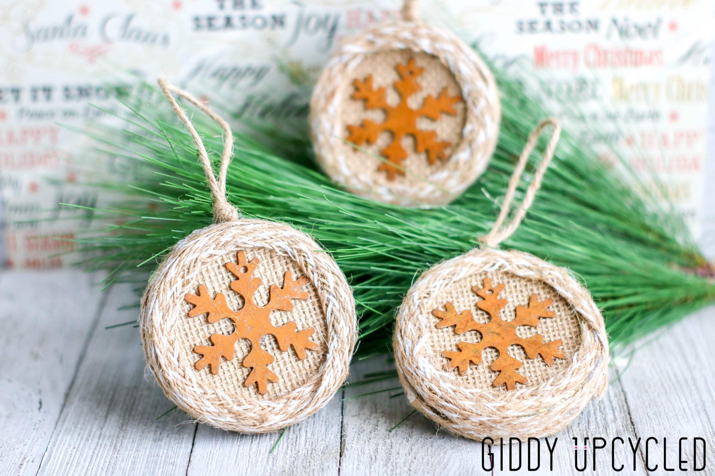 Burlap Wrapped Mason Jar Snowflake Ornaments