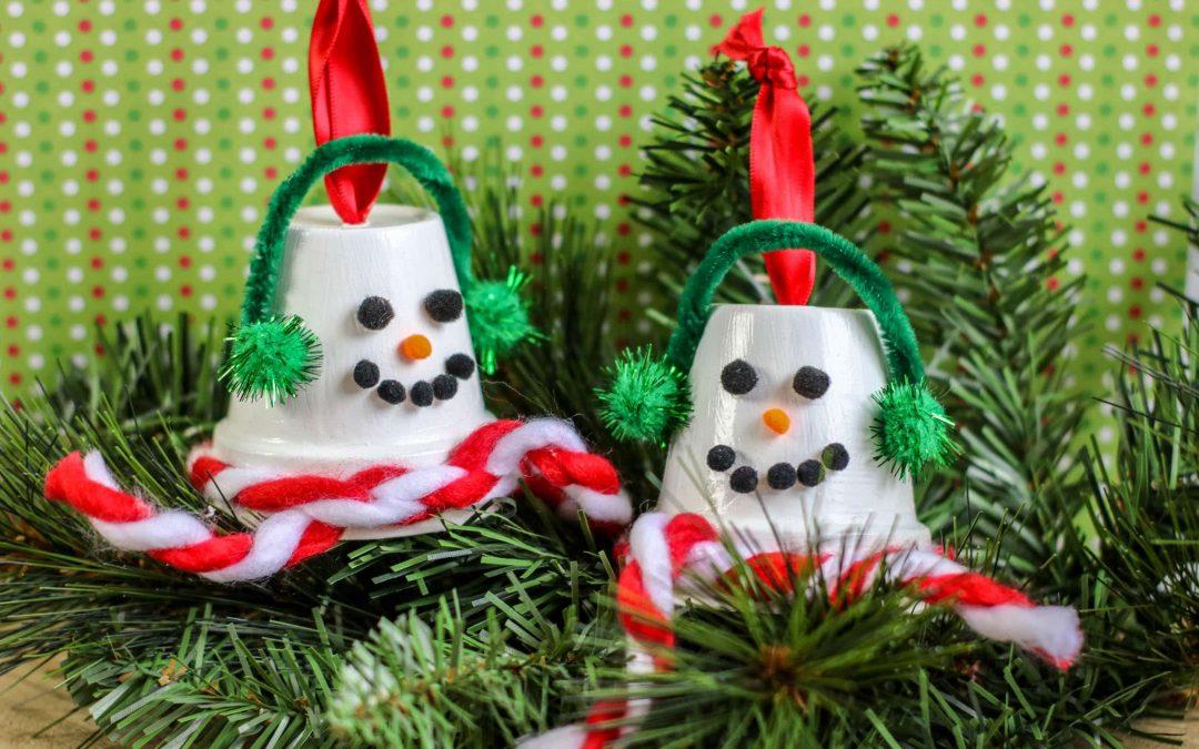 DIY Upcycled Terra Cotta Pot Snowman Ornaments
