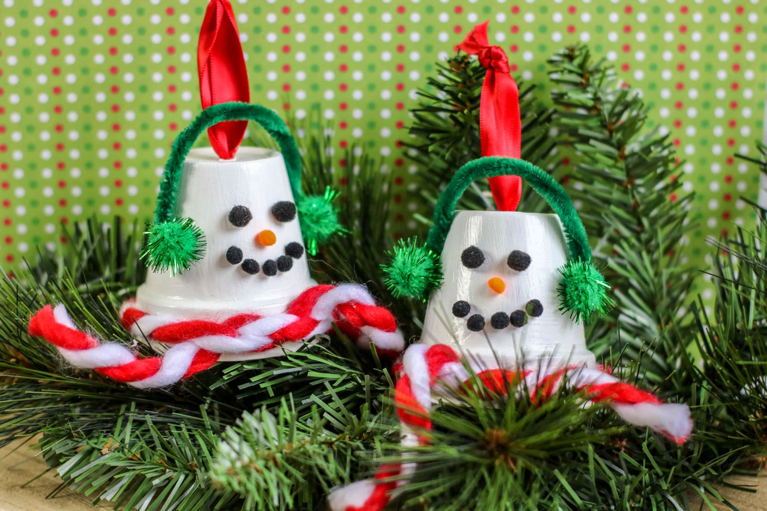 DIY Upcycled Terra Cotta Pot Snowman Ornaments